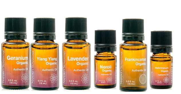 Organic Essential Oils from Nature's Sunshine include: Geranium, Ylang Ylang, Lavender, Neroli, Frankincense, and Helichrysum.